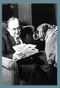 Photo of Ty Cobb and dog