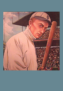 Illustration of Ty Cobb on the field.